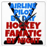 Piloto de la línea aérea del amante del hockey relojes de pared