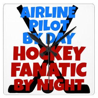 Piloto de la línea aérea del amante del hockey reloj cuadrado