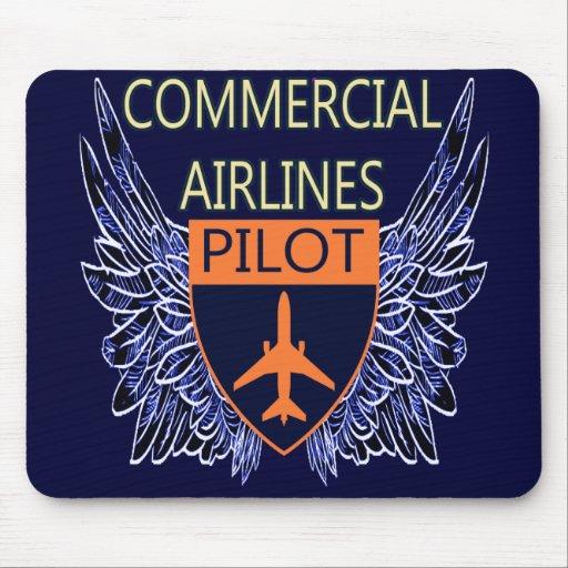 Piloto de las líneas aéreas comerciales tapete de raton