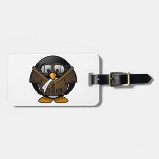 Piloto de los regalos del pingüino etiquetas para equipaje