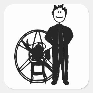 Piloto de Paramotor Pegatina Cuadrada