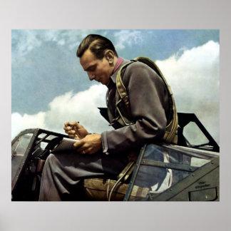 Piloto de prueba alemán de WWII Fritz Wendel Posters
