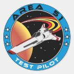Piloto de prueba del área 51 pegatinas redondas