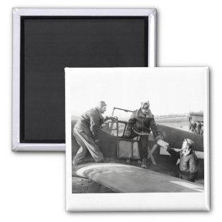 Piloto de WWII + Equipo de un mustango de P-51A Imán Cuadrado