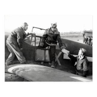 Piloto de WWII + Equipo de un mustango de P-51A Postales