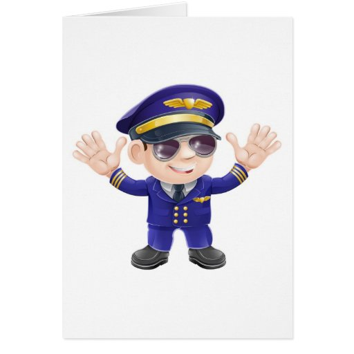 Piloto del aeroplano del dibujo animado tarjeta de felicitación
