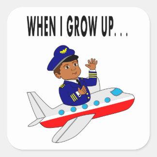 Piloto del aeroplano del vuelo del muchacho del pegatina cuadrada