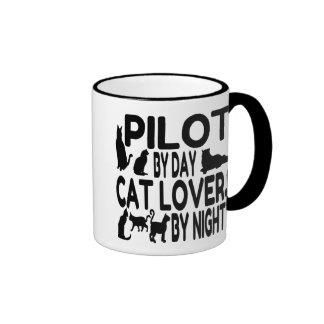 Piloto del amante del gato taza de dos colores