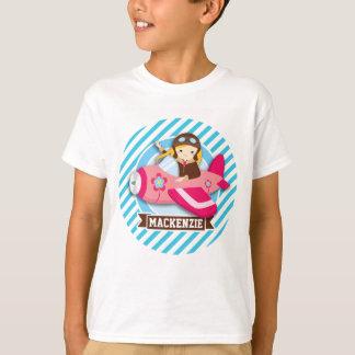 Piloto del chica en aeroplano rosado; Rayas azules Playera