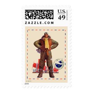 Piloto del correo aéreo sello