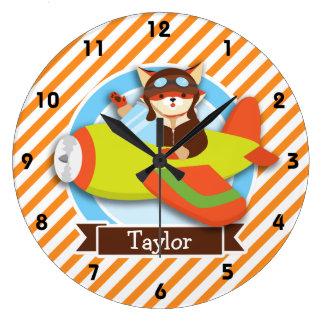Piloto del Fox en aeroplano verde y anaranjado Relojes De Pared