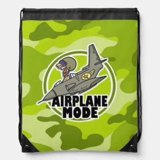 Piloto divertido; camo verde claro, camuflaje mochila