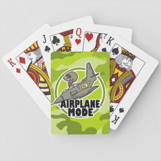 Piloto divertido camo verde claro camuflaje baraja de cartas