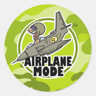 Piloto divertido; camo verde claro, camuflaje pegatina redonda