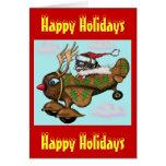 Piloto divertido de Santa en tarjeta de Navidad pl