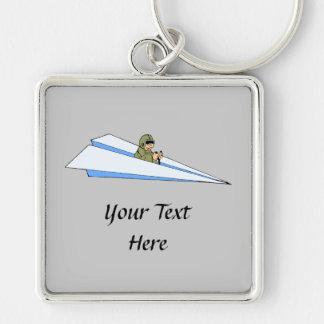 Piloto divertido del aeroplano de papel llaveros