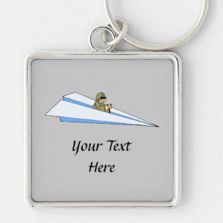 Piloto divertido del aeroplano de papel llavero cuadrado plateado