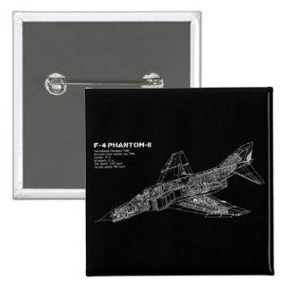 Piloto fantasma del avión de combate (avión pin cuadrado