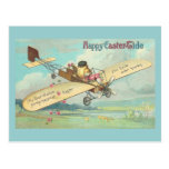 Piloto feliz del polluelo del vintage de la Pascua Postal