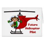 Piloto futuro adorable, piloto del helicóptero - C Tarjetón