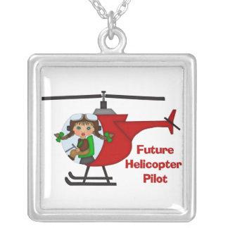 Piloto futuro adorable, piloto del helicóptero - colgante cuadrado