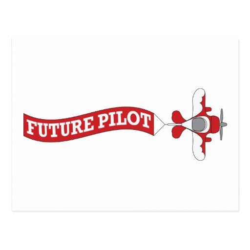Piloto futuro - avión con la bandera postal