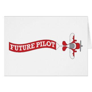 Piloto futuro - avión con la bandera felicitación