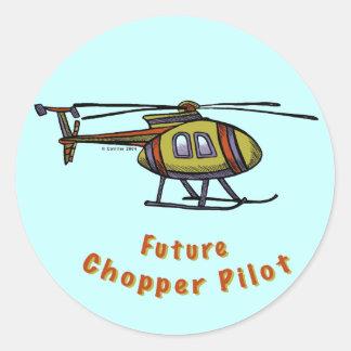 Piloto futuro del helicóptero pegatina redonda
