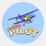 Piloto futuro pegatinas redondas
