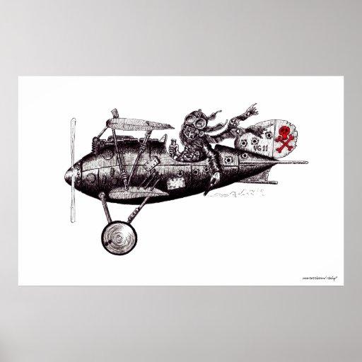 Piloto loco en arte blanco y negro del avión del v impresiones