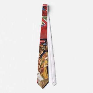 Piloto, mujer y aeroplano del vintage con los corbata personalizada