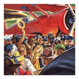 """Piloto, mujer y aeroplano del vintage con los invitación 5.25"""" x 5.25"""""""