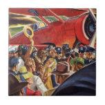 Piloto, mujer y aeroplano del vintage con los papa azulejo