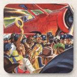 Piloto, mujer y aeroplano del vintage con los posavasos de bebida