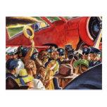 Piloto, mujer y aeroplano del vintage con los postal