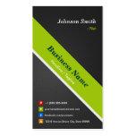 Piloto - negro y verde superiores tarjetas de visita