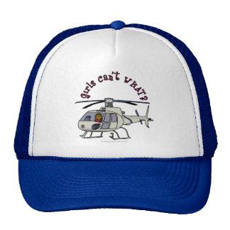 Piloto oscuro del helicóptero gorras