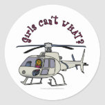 Piloto oscuro del helicóptero pegatina redonda