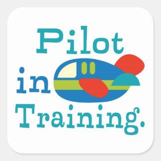 Piloto personalizado en el entrenamiento pegatina cuadrada