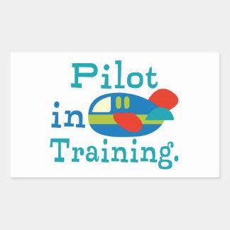 Piloto personalizado en el entrenamiento pegatina rectangular