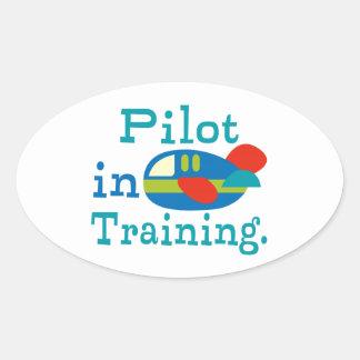 Piloto personalizado en el entrenamiento pegatina ovalada