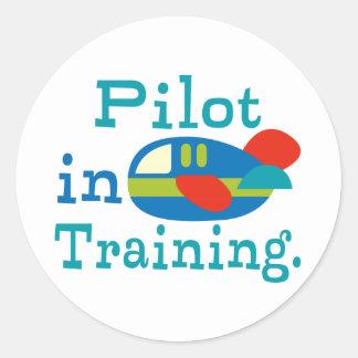 Piloto personalizado en el entrenamiento pegatina redonda