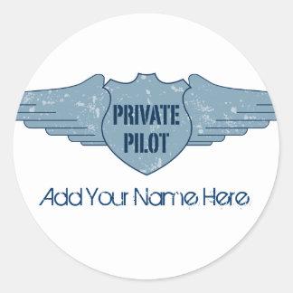 Piloto privado Blue Wings Pegatina Redonda