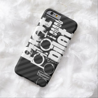 Piloto; Rayas negras y gris oscuro Funda Para iPhone 6 Barely There