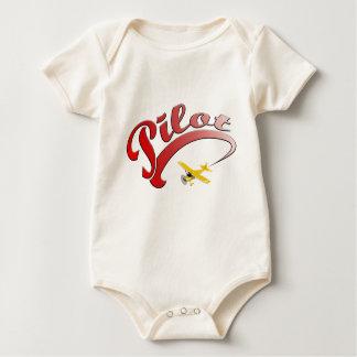 Piloto retro rojo con el aeroplano amarillo mameluco de bebé