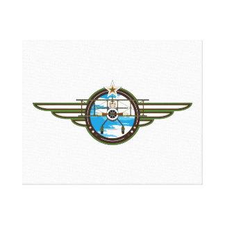 Piloto y biplano lindos de la fuerza aérea impresión en lienzo estirada