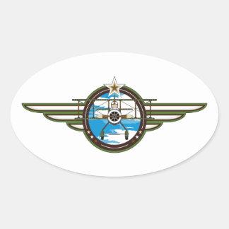Piloto y biplano lindos de la fuerza aérea pegatina ovalada