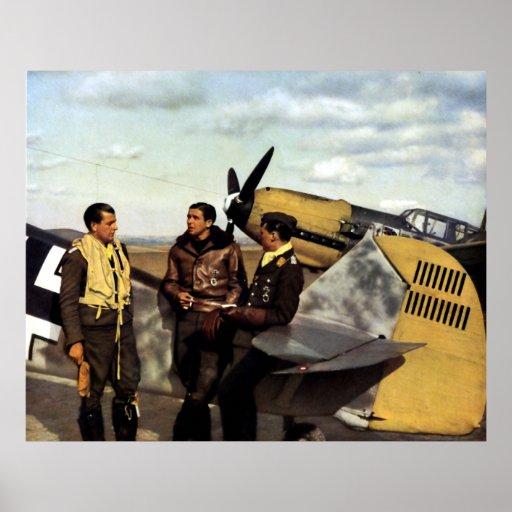 Pilotos alemanes ME-109 de WWII Póster