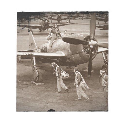 Pilotos de caza que entrenan en los rayos P-47 Blocs De Papel
