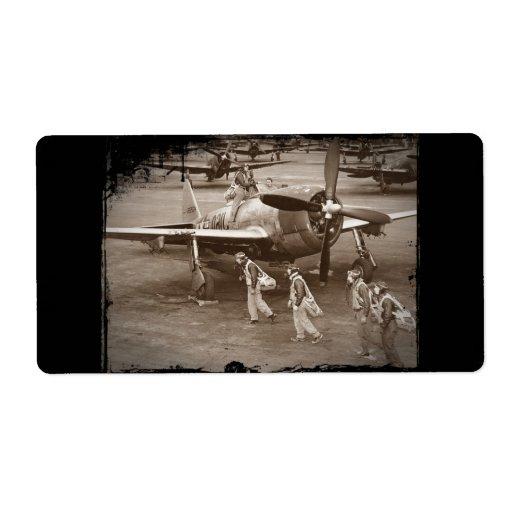 Pilotos de caza que entrenan en los rayos P-47 Etiqueta De Envío